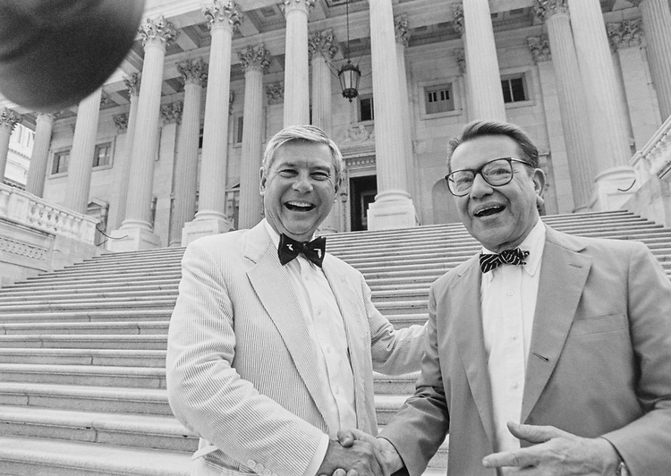 Sen. Bob Graham, D-Fla. wears a bow tie like Sen Simon because he lost a bet - Chicago Bulls Won! June 24, 1996. (Photo by Rebecca Roth/CQ Roll Call)
