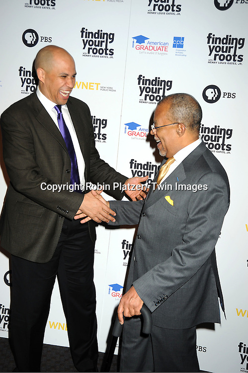 "Mayor Cory Booker and Henry Louis Gates, Jr, attend the PBS""s Finding Your Roots with Henry Louis  Gates, Jr  Premiere screening   at The Allen Room at Frederick P Rose Hall in New York City on March 19, 2012."