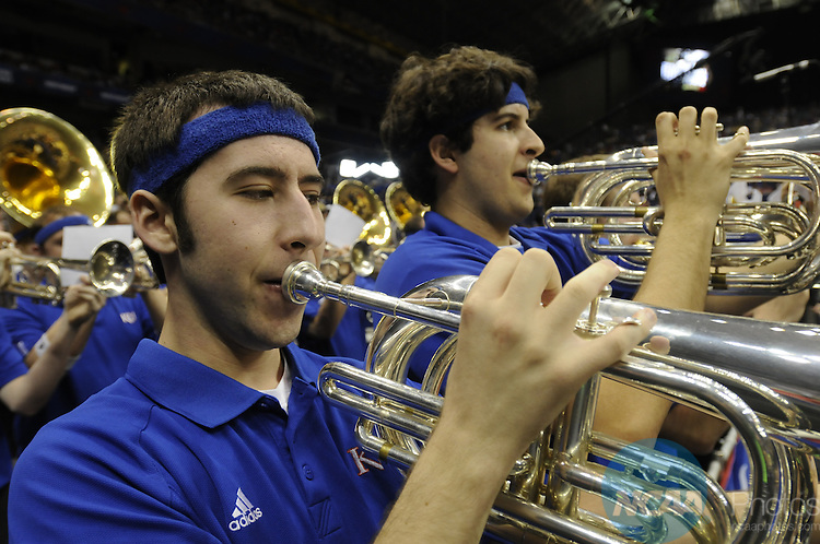 07 APR 2008: The University of Memphis vs the University of Kansas during the Division I Men's Final Four Basketball Championship Game held at the Alamodome in San Antonio, TX. Kansas defeated Memphis 75-68 to claim the championship title. Ryan McKee/NCAA Photos