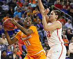SIOUX FALLS, SD - MARCH 27, 2016 -- Diamond DeShields #11 of Tennessee looks past defender Brianna Butler #13 of Syracuse during their NCAA DI Regional Championship game Sunday at the Denny Sanford Premier Center in Sioux Falls, S.D.  Syracuse won 89-67 to advance to the Final Four and will face Washington. (Photo by Dick Carlson/Inertia)