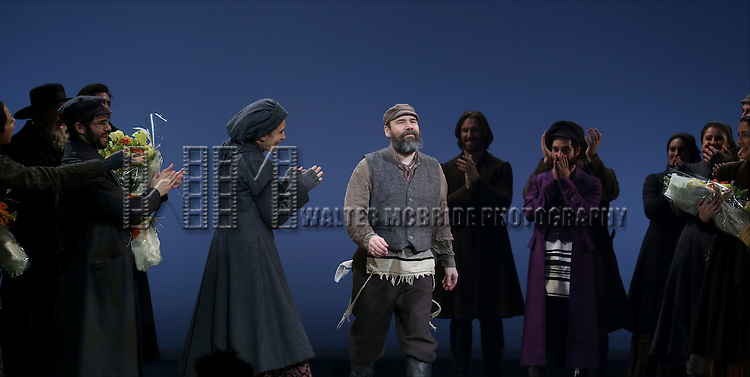 Alexandra Silber, Adam Kantor, Jessica Hecht and Danny Burnstein during the Broadway Opening Night Performance Curtain Call bows for 'Fiddler On The Roof'  at the Broadway Theatre on December 20, 2015 in New York City.
