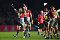 Harlequins players celebrate at the final whistle. European Rugby Champions Cup match, between Harlequins and Wasps on January 13, 2018 at the Twickenham Stoop in London, England. Photo by: Patrick Khachfe / JMP