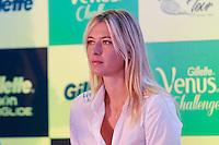 ATENÇÃO EDITOR: FOTO EMBARGADA PARA VEÍCULOS INTERNACIONAIS. SAO PAULO, SP, 06 DE DEZEMBRO DE 2012. APRESENTAÇÃO DO TORNEIO GILLETTE FEDERER TOUR.  a tenista Maria Sharapova durante a apresentação do novo torneio Gillette Federer Tour,  na manhã desta quinta feira na zona sul da capital paulista. O Gillette Federer Tour reunirá, durante quatro dias, o melhor do tênis mundial, no Ginásio do Ibirapuera, de 6 a 9 de dezembro, com a participação de grandes estrelas como Roger Federer, Tommy Haas, Thomaz Bellucci, Jo-Wilfried Tsonga, Tommy Robredo, Victoria Azarenka, Maria Sharapova, Serena Williams, Caroline Wozniacki, Bob e Mike Bryan e Marcelo Melo e Bruno Soares.  FOTO ADRIANA SPACA - BRAZIL PHOTO PRESS