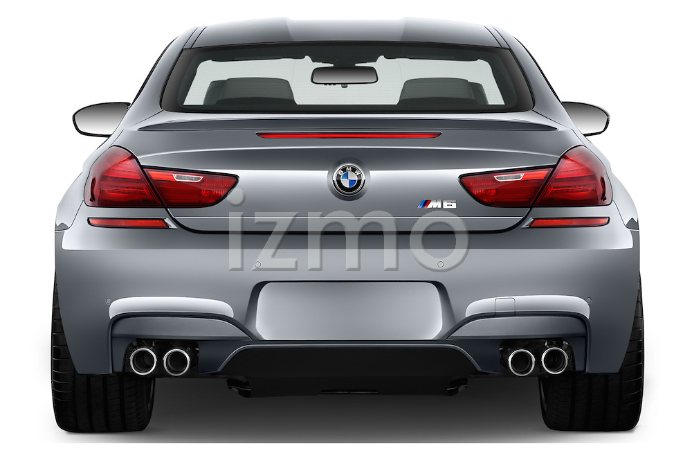 Straight rear view of 2016 BMW M6 Coupe - 3 Door Coupe Rear View  stock images