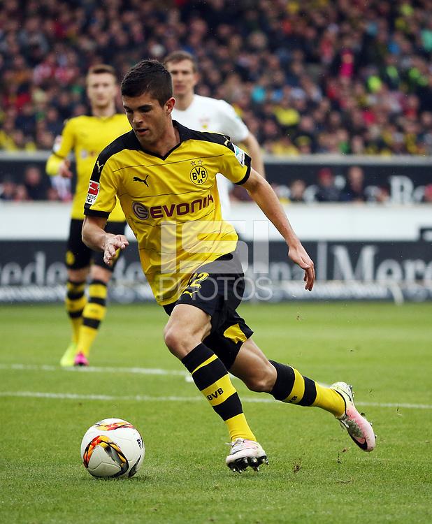 Germany, Stuttgart, 23.04.2016, 1. Football-Bundesliga,  2015/2016, 31.  match day, VfB Stuttgart - Borussia Dortmund (0:3): Christian Pulisic (Borussia Dortmund).  .<br /> .