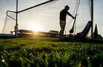 Cork goalie Anthony Nash swaps his trademark implement in preparation for a puc out after a Clare score in the low Winter sunshine at the Munster Hurling League game against Clare at Cusack Park. Photograph by John Kelly.