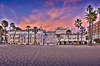 Shutters on the Beach, Santa Monica CA, Sand beach;  California; Beachfront Luxury; Hotel; Sunset; Fiery sky