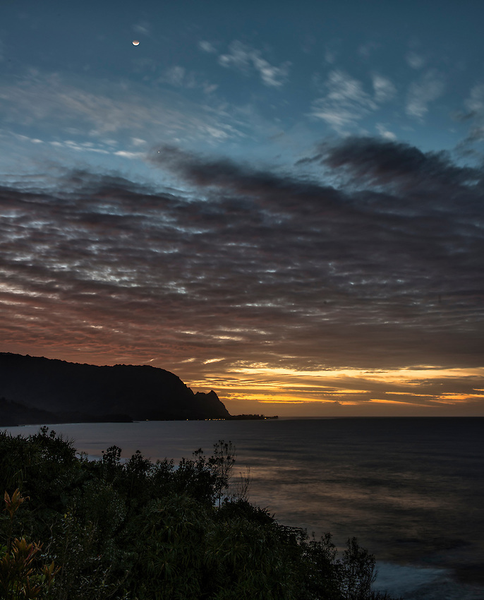 Early evening view of Bali Hai (Mount Makana), from Pali Ke Kua, Princeville, Kauai