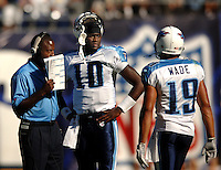 Sept. 17, 2006; San Diego, CA, USA; Tennessee Titans quarterback (10) Vince Young and wide receiver (19) Bobby Wade against the San Diego Chargers at Qualcomm Stadium in San Diego, CA. Mandatory Credit: Mark J. Rebilas