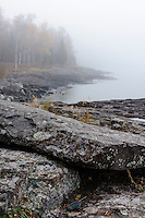 Lake Superior shoreline on a foggy autumn morning near Split Rock Lighthouse.