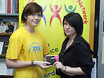 Naomi Farrell with third prize winner Caoife McVeigh at the Drogheda Young Persons Network Presentation...Photo NEWSFILE/Jenny Matthews.(Photo credit should read Jenny Matthews/NEWSFILE)....This Picture has been sent you under the condtions enclosed by:.Newsfile Ltd..The Studio,.Millmount Abbey,.Drogheda,.Co Meath..Ireland..Tel: +353(0)41-9871240.Fax: +353(0)41-9871260.GSM: +353(0)86-2500958.email: pictures@newsfile.ie.www.newsfile.ie.FTP: 193.120.102.198.