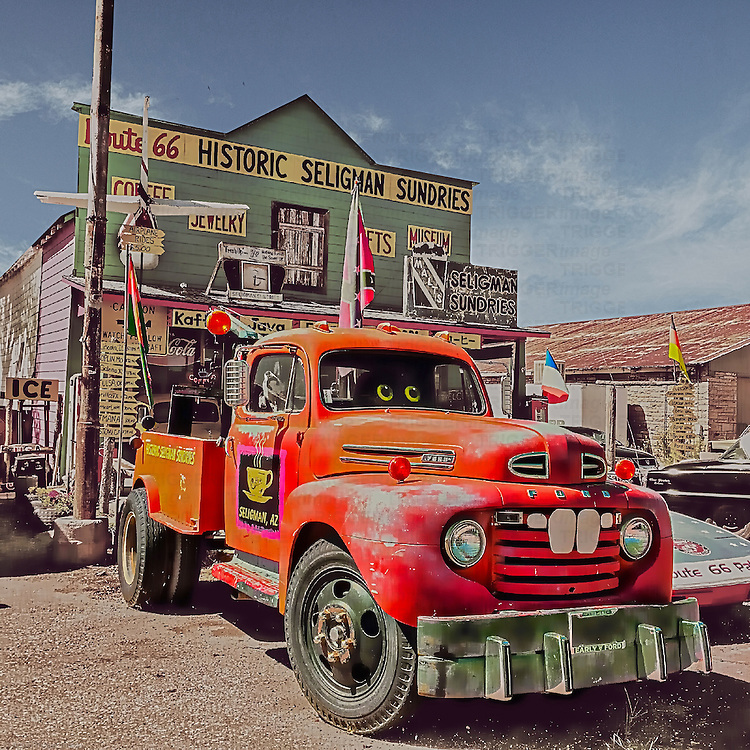 An old red Ford truck in USA