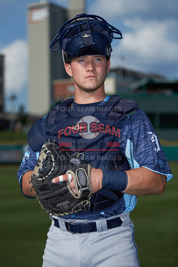 West Michigan Whitecaps catcher Cooper Johnson (37) poses for a photo prior to the game against the Fort Wayne TinCaps at Parkview Field on August 5, 2019 in Fort Wayne, Indiana. The TinCaps defeated the Whitecaps 9-3. (Brian Westerholt/Four Seam Images)