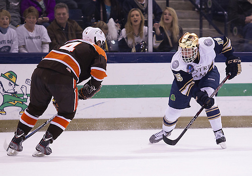 March 15, 2013:  Notre Dame right wing Peter Schneider (15) during NCAA Hockey game action between the Notre Dame Fighting Irish and the Bowling Green Falcons at Compton Family Ice Arena in South Bend, Indiana.  Notre Dame defeated Bowling Green 1-0 in overtime.