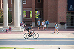Busy time outside of Holman Hall.  Photo by Kevin Bain/University Communications Photography.