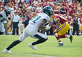 Philadelphia Eagles cornerback Jalen Mills (31) starts his return after intercepting a pass from Washington Redskins quarterback Kirk Cousins (8) that was intended for Redskins wide receiver Jamison Crowder (80) in the third quarter at FedEx Field in Landover, Maryland on Sunday, September 10, 2017.  The Eagles won the game 30 - 17.<br /> Credit: Ron Sachs / CNP