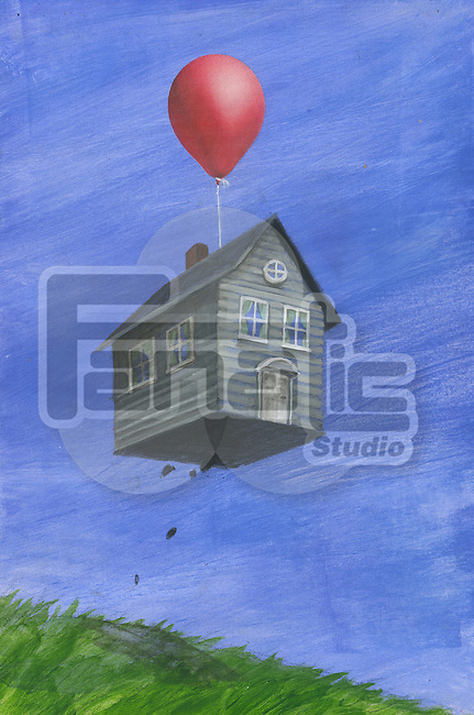 Illustrative image of house being lifted into the air by balloon representing home insurance