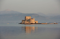 Bourtzi Castle, an island fortress in the harbour of Nauplion, completed by the Venetians, 1473, regained from Turkey by Greece in 1822, it served as the local executioner's house 1865 -1930