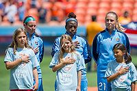 Houston, TX - Saturday May 13, Sky Blue players Erin Simon, Mandy Freeman, and Leah Galton stand for the national anthem during a regular season National Women's Soccer League (NWSL) match between the Houston Dash and Sky Blue FC at BBVA Compass Stadium. Sky Blue won the game 3-1.