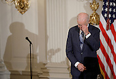 United States Vice President Joe Biden gets emotional as he received from President Obama the Medal of Freedom during an event in the State Dinning room of the White House, January 12, 2017 in Washington, DC. <br /> Credit: Olivier Douliery / Pool via CNP