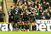 31st October 2017, Carrow Road, Norwich, England; EFL Championship football, Norwich City versus Wolverhampton Wanderers; Wolves players celebrate after their second goal scored by Léo Bonatini