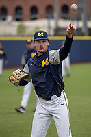 Michigan Wolverines pitcher Tommy Henry (47) warms up before the NCAA baseball game against the Michigan State Spartans on May 7, 2019 at Ray Fisher Stadium in Ann Arbor, Michigan. Michigan defeated Michigan State 7-0. (Andrew Woolley/Four Seam Images)