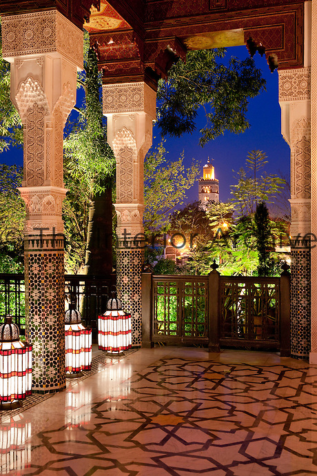 Views of Marrakech from the large porch with inlaid marble floors and glass floor lanterns