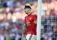 19th May 2018, Wembley Stadium, London, England; FA Cup Final football, Chelsea versus Manchester United; Phil Jones of Manchester United with a head bandaged looking disappointed after not scoring from a corner