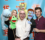 """Jamie Glickman and Matt Dengler with Avenue Q & Puppetry Fans during """"Avenue Q"""" Celebrates World Puppetry Day at The New World Stages on 3/21/2019 in New York City."""