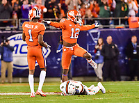 Charlotte, NC - DEC 2, 2017: Clemson Tigers defensive back K'Von Wallace (12) knocks down a pass intended for Miami Hurricanes wide receiver Jeff Thomas (4) during ACC Championship game between Miami and Clemson at Bank of America Stadium Charlotte, North Carolina. (Photo by Phil Peters/Media Images International)