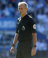Referee  Martin Atkinson during the game <br /> <br /> Photographer Ian Cook/CameraSport<br /> <br /> The Premier League - Cardiff City v Liverpool - Sunday 21st April 2019 - Cardiff City Stadium - Cardiff<br /> <br /> World Copyright © 2019 CameraSport. All rights reserved. 43 Linden Ave. Countesthorpe. Leicester. England. LE8 5PG - Tel: +44 (0) 116 277 4147 - admin@camerasport.com - www.camerasport.com
