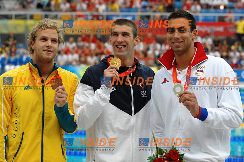 Andrew Lauterstein, Australia, Bronze medal, Michael Phelps, Usa, Gold Medal, Milorad Cavic, Serbia, Silver Medal, Men's 100M Butterfly, Gold Medal<br /> National Aquatics Centre - Swimming - Nuoto<br /> Pechino - Beijing 16/8/2008 Olimpiadi 2008 Olympic Games<br /> Foto Andrea Staccioli Insidefoto