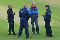 Umpire Ian Gould (R) speaks to the ground staff and Essex head coach Anthony McGrath during Yorkshire CCC vs Essex CCC, Specsavers County Championship Division 1 Cricket at Emerald Headingley Cricket Ground on 15th April 2018
