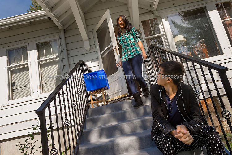SEATAC, USA - SEPTEMBER 24th, 2015<br /> <br /> Ricki Mudd, 22, &amp; her brother Chao Wu, 20, in Ricki&rsquo;s parents home in Seatac, Washington, USA.<br /> <br /> (Photo by Stuart Isett for The Washington Post)