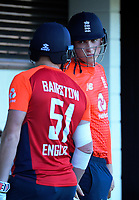 England's Jonny Bairstow and Tom Curran during the 4th Twenty20 International cricket match between NZ Black Caps and England at McLean Park in Napier, New Zealand on Friday, 8 November 2019. Photo: Dave Lintott / lintottphoto.co.nz