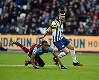 1st February 2020; London Stadium, London, England; English Premier League Football, West Ham United versus Brighton and Hove Albion; Pascal Gross of Brighton and Hove Albion gets away from Issa Diop of West Ham United to score for 3-2 in the 75th minute