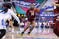 GREENSBORO, NC - MARCH 06: Marnelle Garraud #14 of Boston College runs the offense during a game between Boston College and Duke at Greensboro Coliseum on March 06, 2020 in Greensboro, North Carolina.
