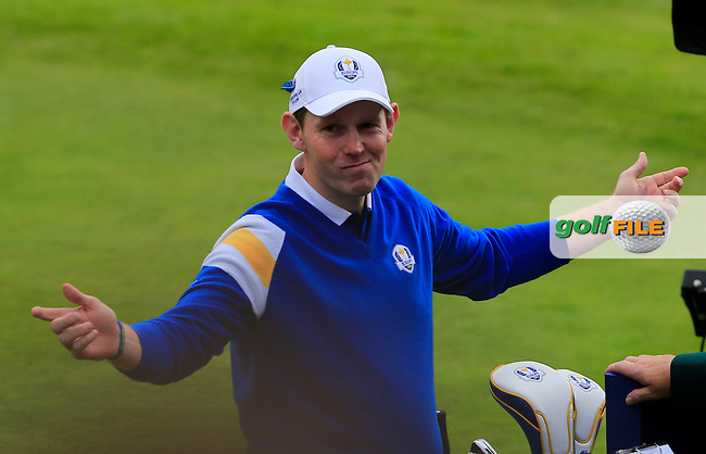 Stephen Gallacher (EUR) during the Sunday Singles Matches at the 2014 Ryder Cup at Gleneagles. The 40th Ryder Cup is being played over the PGA Centenary Course at The Gleneagles Hotel, Perthshire from 26th to 28th September 2014.: Picture Thos Caffrey, www.golffile.ie: \28/09/2014\