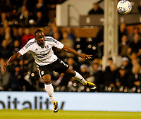 Neeskens Kebano of Fulham sees his shot blocked during the Sky Bet Championship match between Fulham and Hull City at Craven Cottage, London, England on 13 September 2017. Photo by Carlton Myrie.