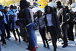 Mourners arrive at St. Sabina's for the visitation and funeral of Tyshawn Lee, 9, who was multiple times while playing basketball in an alley on November 2, 2015, in Chicago, Illinois on November 10, 2015. Police allege the killing was a retaliatory gang hit which would mark a new turn in Chicago's gang wars.