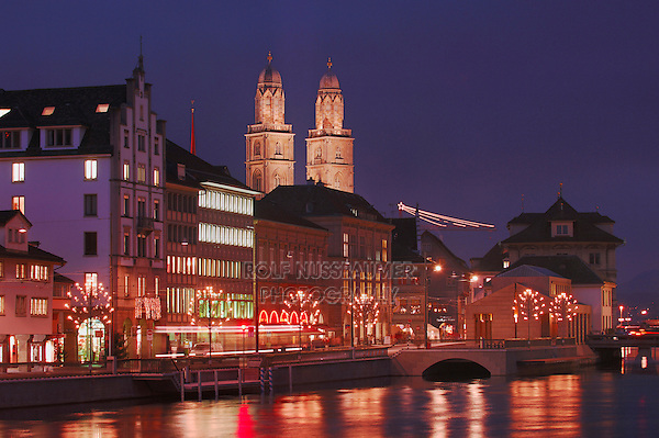 Grossmuenster at dusk,Zurich, Switzerland