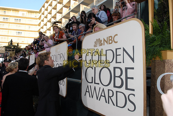 "BRAD PITT.Red Carpet Arrivals - 64th Annual Golden Globe Awards, Beverly Hills HIlton, Beverly Hills, California, USA..January 15th 2007.globes half length black suit jacket signing autograph fans.CAP/AW.Please use accompanying story.Supplied by Capital Pictures.© HFPA"" and ""64th Golden Globe Awards"""