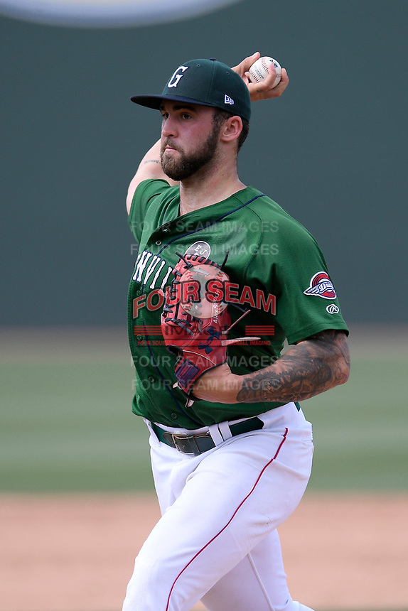 Pitcher Alex Scherff (18) of the Greenville Drive delivers a pitch in a game against the West Virginia Power on Sunday, May 19, 2019, at Fluor Field at the West End in Greenville, South Carolina. Greenville won, 8-4. (Tom Priddy/Four Seam Images)
