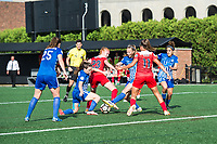 Boston, MA - Saturday July 01, 2017: Allysha Chapman, Tori Huster and Julie King during a regular season National Women's Soccer League (NWSL) match between the Boston Breakers and the Washington Spirit at Jordan Field.