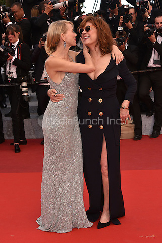CANNES, FRANCE - MAY 12: Naomi Watts &amp; Susan Sarandon at&acute;Money Monster` screening - 69th Cannes Film Festival, France May 12, 2016.<br />