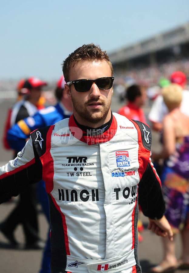 May 28, 2010; Indianapolis, IN, USA; Indy Light Series driver James Hinchcliffe (2) during the Freedom 100 at the Indianapolis Motor Speedway. Mandatory Credit: Mark J. Rebilas-