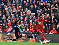 7th March 2020; Anfield, Liverpool, Merseyside, England; English Premier League Football, Liverpool versus AFC Bournemouth; Jack Simpson of Bournemouth tackles Divock Origi of Liverpool