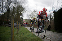Jelle Wallays (BEL/Lotto-Soudal) riding the gutter up the Taaienberg<br /> <br /> 71st Dwars door Vlaanderen (1.HC)