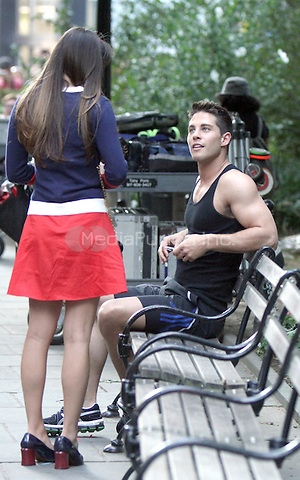August 12, 2012 Dean Geyer, Lea Michele shooting on location for  Glee at City Hall Park  in New York City.Credit:© RW/MediaPunch Inc.