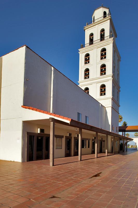 Mission de Oro showing bell tower and plaza. Santa Nella, California